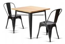 Tolix Style 80cm Square Metal Dining Set Graphite Grey Table & 2 Chairs 1/2 Price Deal